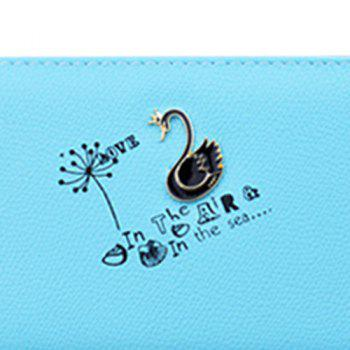 Letter Print Faux Leather Clutch Wallet -  LAKE BLUE