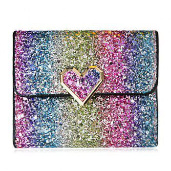 Multicolor Sequins Metal Small Wallet