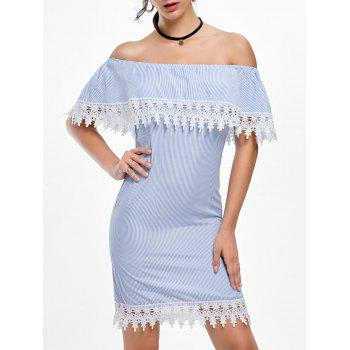 Off Shoulder Striped Crochet Trim Dress - STRIPE STRIPE
