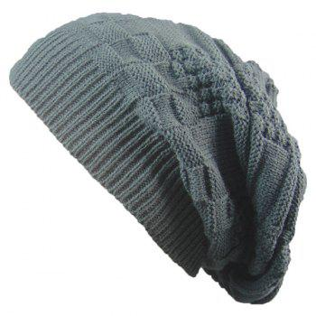 Stripe Plaid Draped Knitted Cap