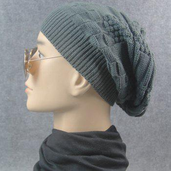 Stripe Plaid Draped Knitted Cap - DEEP GRAY