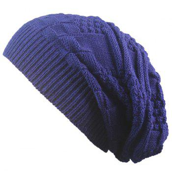 Stripe Plaid Draped Knitted Cap - CADETBLUE CADETBLUE