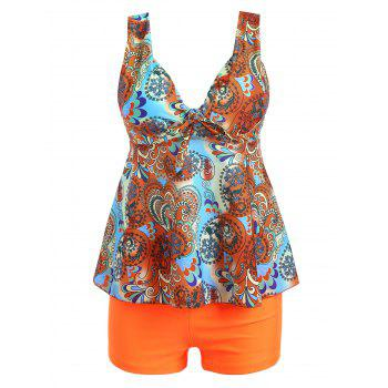 Plus Size Plunge Printed Tankini Set