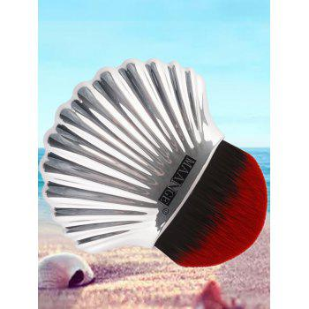 Shell Shape Fiber Hair Plating Foundation Brush - RED WITH BLACK RED/BLACK