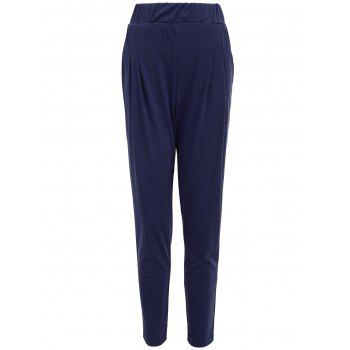 Elastic Waist Ankle Length Plus Size Pencil Pants - BLUE 5XL