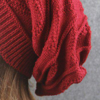 Wave Striped Knitting Beanie Hat -  CLARET