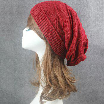 Wave Striped Knitting Beanie Hat - CLARET CLARET