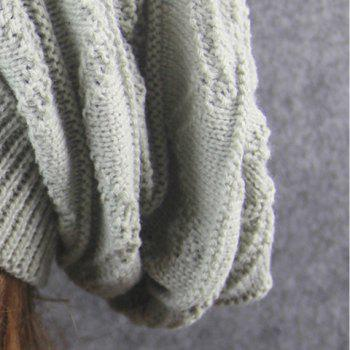 Wave Striped Knitting Beanie Hat -  LIGHT GRAY