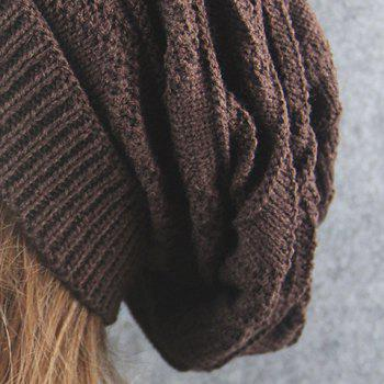 Wave Striped Knitting Beanie Hat -  COFFEE