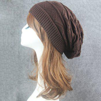 Wave Striped Knitting Beanie Hat - COFFEE COFFEE