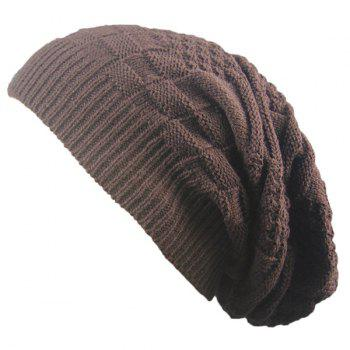 Stripe Plaid Draped Knitted Cap - COFFEE COFFEE