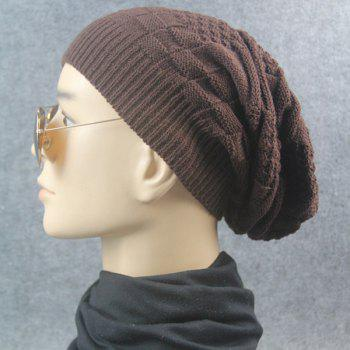 Stripe Plaid Draped Knitted Cap -  COFFEE