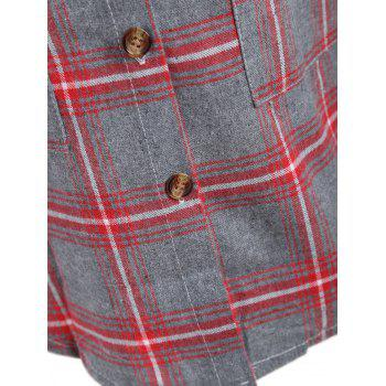 Plaid Button Up Plus Size Shirt Jacket - Rouge 2XL