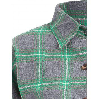 Plaid Button Up Plus Size Shirt Jacket - Vert 4XL