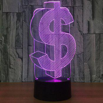 7 Color Change 3D Dollar Shape LED Night Light -  TRANSPARENT