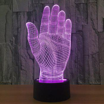 Palm Shape 7 Colors Change 3D LED Night Light - TRANSPARENT TRANSPARENT