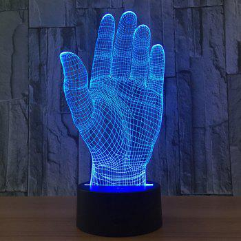 Palm Shape 7 Colors Change 3D LED Night Light - TRANSPARENT
