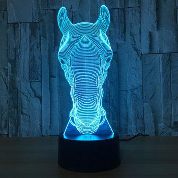 Colors Change 3D Horse Head Design Touch Night Light -  TRANSPARENT