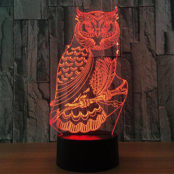 Owl Shape 7 Colors Change 3D Touch Night Light - TRANSPARENT
