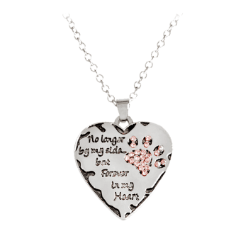 Heart Engraved Claw Footprint Forever Necklace - RED RED
