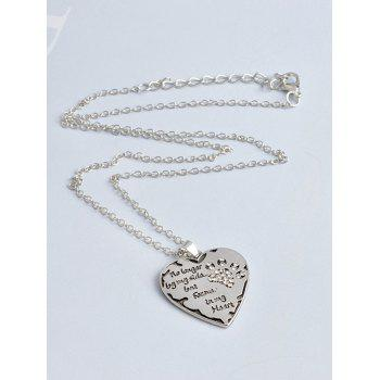 Heart Engraved Claw Footprint Forever Necklace -  WHITE