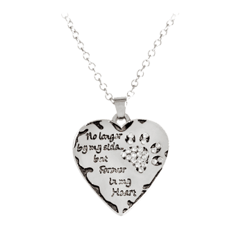 Heart Engraved Claw Footprint Forever Necklace - WHITE WHITE