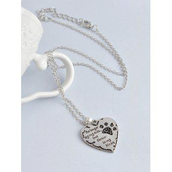 Heart Engraved Claw Footprint Forever Necklace -  BLACK