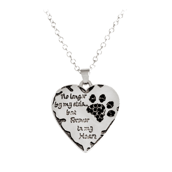Heart Engraved Claw Footprint Forever Necklace - BLACK BLACK