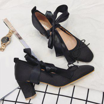 Block Heel Bow Satin Pumps - Noir 38