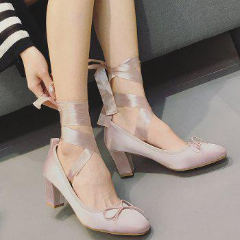 Block Heel Bow Satin Pumps - Rose Léger 37