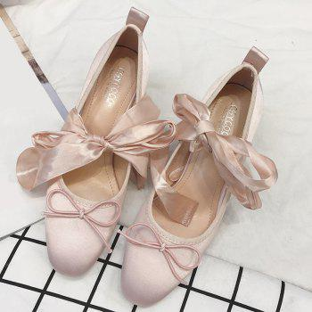 Block Heel Bow Satin Pumps - Rose Clair 38