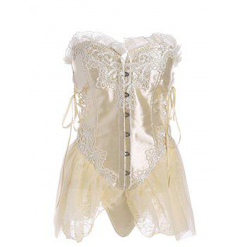 Ruffled Vintage Lace-up Corset Top