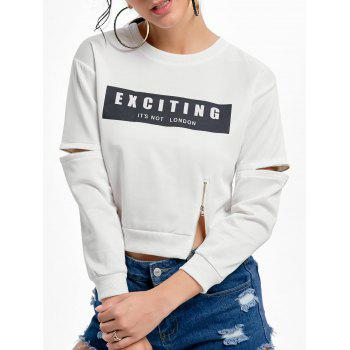 Zipper Long Sleeve Print Crop Sweatshirt - WHITE ONE SIZE