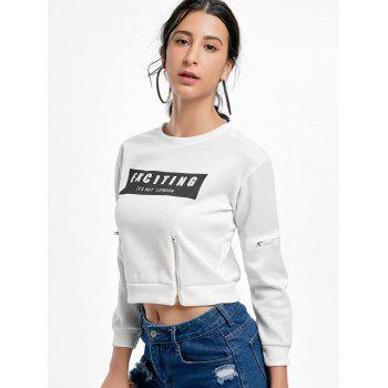 Zipper Long Sleeve Print Crop Sweatshirt - ONE SIZE ONE SIZE