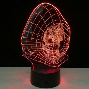 Wizard Skull Shape Color Change 3D Illusion LED Night Light - TRANSPARENT