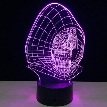 Wizard Skull Shape Color Change 3D Illusion LED Night Light - TRANSPARENT TRANSPARENT