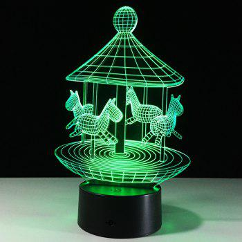 Lampe de Nuit LED à Couleurs Changeantes en Forme d'Adorable Carrousel 3D - Transparent