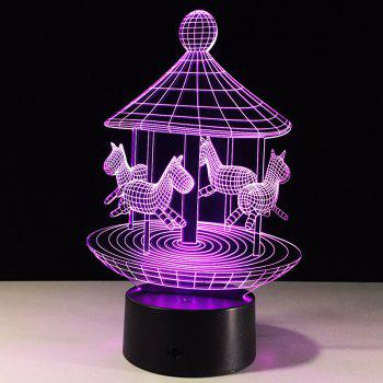 Colors Change Lovely Carousel Shape 3D LED Night Light - TRANSPARENT TRANSPARENT