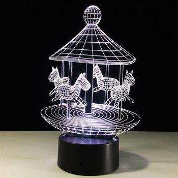 Colors Change Lovely Carousel Shape 3D LED Night Light -  TRANSPARENT