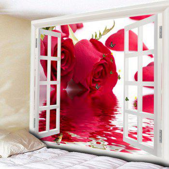 Rose Butterly Window Wall Art Tapestry