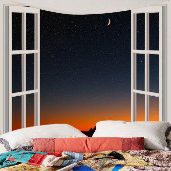 Window Starry Sky Waterproof Wall Hanging Tapestry - COLORFUL W79 INCH * L79 INCH