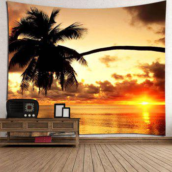 Sunset Coconut Tree Waterproof Wall Hanging Tapestry - COLORFUL W79 INCH * L71 INCH