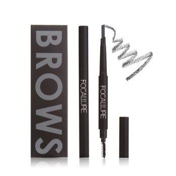 Two-Headed Waterproof Auto Brows Pencil With Brush -  DARK GRAY