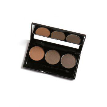 Anti Sweat Waterproof 3 Colors Brows Powder Kit With Brush - #01