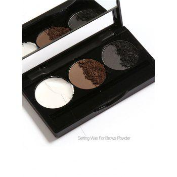 Anti Sweat Waterproof 3 Colors Brows Powder Kit With Brush - #02