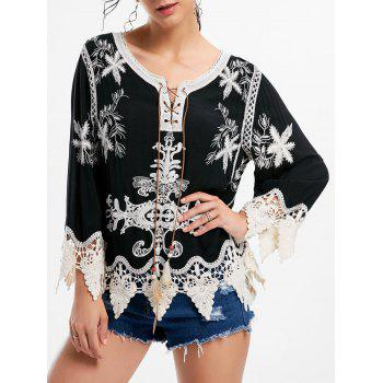 Embroidered Crochet Panel Beach Top