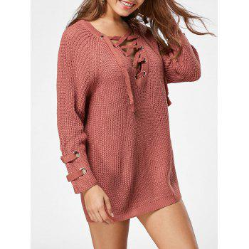 Lace Up Raglan Sleeve Ribbed Trim Sweater