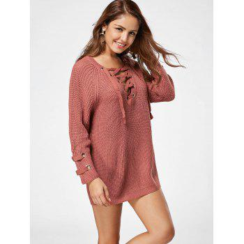Lace Up Raglan Sleeve Ribbed Trim Sweater - DARK AUBURN ONE SIZE