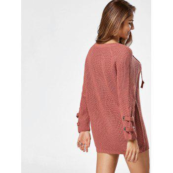 Lace Up Raglan Sleeve Ribbed Trim Sweater - ONE SIZE ONE SIZE