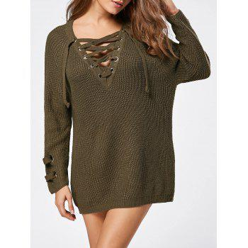 Lace Up Raglan Sleeve Ribbed Trim Sweater - LAWN LAWN